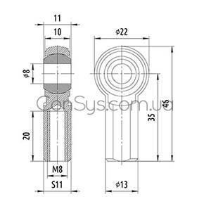 Концевик шарнирный RE03-M8